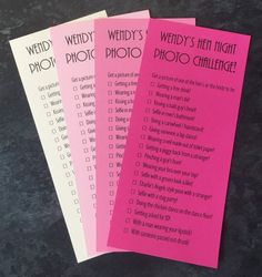 Hen Night Party Photo Challenge Game Cards Girls Night Out Hen Party Bags, Challenge Games, Hens Night, Night Photos, Girls Night Out, Girl Night, Party Photos, Color Card, Card Sizes