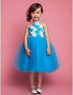 Flower Girl Dress Knee-length Satin/Tulle/Lace A-line/Princess/Ball Gown Sleeveless Dress