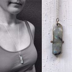 Unique Spinner necklace Sterling Silver Labradorite Necklace Gray Crystal Long Lariat Necklace.