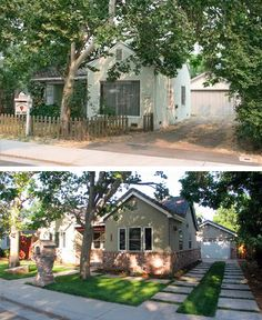 Top: before; Bottom: after. Built in 1946, the home originally was constructed with salvaged walls from an old railroad boxcar. James Madson, a residential designer, worked with his brother on the renovation that included sprucing up the front yard by replacing a drab concrete driveway with stamped concrete pads separated by aisles of grass.