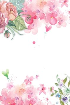 hand painted floral pink flowers decorative background, Hand Painted Flowers, Pink Flower Decoration, Hand Painted Floral Decoration PNG and PSD Flower Backgrounds, Wallpaper Backgrounds, Watercolor Flowers, Watercolor Art, Floral Border, Floral Watercolor Background, Flower Frame, Pink Flowers, Painted Flowers
