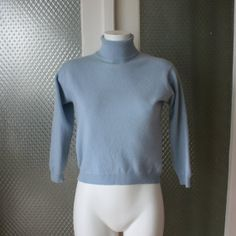 PURE CASHMERE sweater turtleneck sky blue bust by PitzicatVintage, $28.00