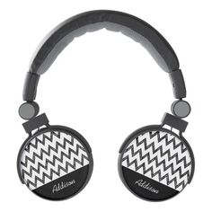 Trendy black and white chevron pattern headphones with girly hand drawn colored pencil black chevrons. Personalize this modern and stylish black and white zigzag design by adding your name.
