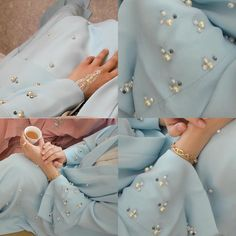 Blue abaya with pearl EID collection . Abaya Fashion, Muslim Fashion, Modest Fashion, Fashion Outfits, Abaya Designs, Blouse Designs, Abaya Style, Estilo Abaya, Blue Abaya