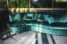 Jewel toned emerald green velvet sofa | Dedar 2015 collection