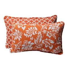 Heather - Amazon.com - Pillow Perfect Decorative Orange/White Geometric/Floral Rectangle Reversible Toss Pillow, 2-Pack