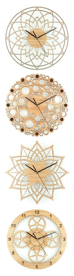 Wall clocks by Beam Designs laser cut from bamboo by lindsay photography
