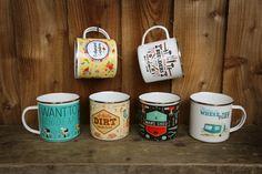Smaltované hrníčky s různými designy - ideální na chatu nebo na #piknik #mugs #giftsforhim #hrnek