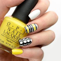 Nails Yellow White Nailart 28 Ideas For 2019 Nails Only, Get Nails, Fancy Nails, Love Nails, Trendy Nails, Hair And Nails, Nail Designs 2015, Yellow Nails Design, Nailart
