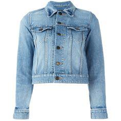 Saint Laurent Love Patch Cropped Denim Jacket (40,925 MXN) ❤ liked on Polyvore featuring outerwear, jackets, good jeans, kirna zabete, kzloves, blue denim jacket, jean jacket, cotton jean jacket, denim jacket and patch jacket