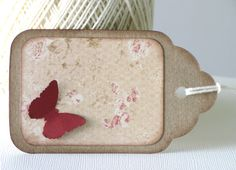 4 Shabby Chic Gift Tags Butterfly Tags Kraft Tags by CatchSomeRaes,