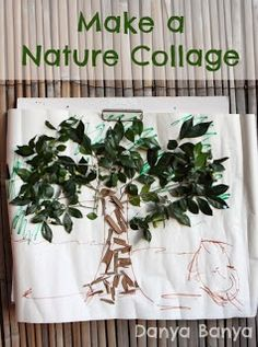 Tree Collage using leaves and bark - gluing - nature craft - another way to use up all the goodies collected on our nature walks