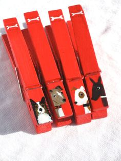 DOGS hand  painted magnetic clothespins red by SugarAndPaint, $10.00