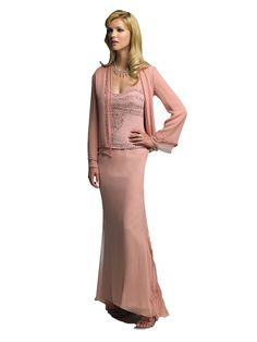 Mother of the Bride Dress with Jacket Cameron Blake 18606 (Rose Pink, Size 16). Authentic Cameron Blake by Mon Cheri Dress - Style: 18606. SIZE 16: 43 inch bust, 36 inch waist, 46 inch hips. Beaded Bodice with Sheer Straps. Drop Waist; Long Sleeve Chiffon Jacket. Long A-Line Skirt; Chiffon; Light Pink Rose.