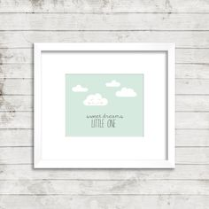 Sweet Dreams Little One- Digital 8x10 printable wall art for nursery/bedroom with cute clouds #11