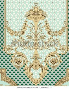 Textile Prints, Textile Design, Baroque Pattern, Floral Border, Border Design, Print Templates, Damask, Flower Art, Illustration