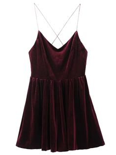 SHARE & Get it FREE | Low Back Slip Velvet Skirted Romper - Wine RedFor Fashion Lovers only:80,000+ Items • New Arrivals Daily Join Zaful: Get YOUR $50 NOW!