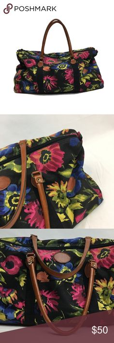 """Vintage Canvas Gitano Floral Overnight bag In great shape. This canvas floral bag would be perfect as a:  Overnight bag Yoga Bag Shopper bag Weekender Bag  Measuring: 20 x 14 x 7"""" this piece is roomy enough for all of your essentials.  A great piece for traveling, it is soft and roomy and makes a great carry on. Gitano Bags Travel Bags"""