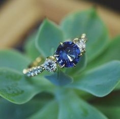 Sapphire and clear diamond engagement ring