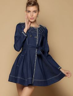 Navy Long Sleeve Epaulet Plaid Pattern Belt Trench Coat