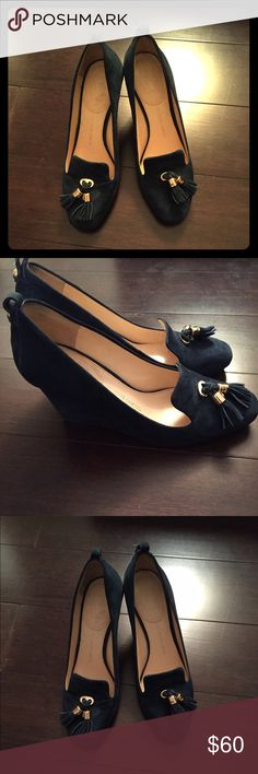 Navy suede tassel wedge heels Beautiful navy suede wedge heels with the perfect tassels to accent the shoes. Mostly worn inside and in great shape. Vince Camuto Shoes Wedges