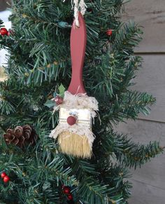Santa Paintbrush Ornament - Primitive Christmas Ornament - Rustic Christmas Ornament - Christmas Decor, Tree Trimmings by TheRusticHomeCompany on Etsy