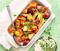 Recept: Pytt på ostwurst med pepparrotskräm Swedish Recipes, Kung Pao Chicken, Bruschetta, Cobb Salad, Turkey, Dinner, Ethnic Recipes, Food, Dining