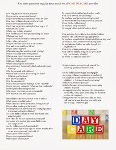 Mom of 3 Boys: What To Look For When Searching For A Day Care Provider - HOME DAY CARE QUESTIONAIRE