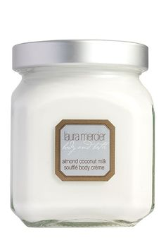The warm vanilla fragrance of this Laura Mercier 'Almond Coconut Milk' soufflé body crème smells so delicious.