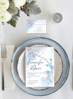 shades of peach and blue watercolor wedding invitations with free rsvp cards