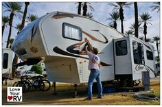 Washing and waxing the RV in Palm Springs after 2000 miles of travel south http://www.loveyourrv.com/wash-wax-and-detail-the-rv/ #RV #Wash #Clean #Wax