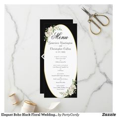 Shop Elegant Boho Black Floral Wedding Menu created by PartyCardy. Elegant Wedding Programs, Wedding Menu Cards, Rose Wedding, Floral Wedding, Wedding Colors, Antique Roses, Monogram Initials, Zazzle Invitations, Watercolor Flowers