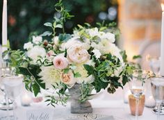 Al Fresco Napa Wedding at The Vintage Estate Wedding Flower Arrangements, Floral Centerpieces, Wedding Centerpieces, Wedding Table, Floral Arrangements, Wedding Decorations, Table Decorations, Wedding Reception, Table Garland