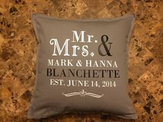 A personal favorite from my Etsy shop https://www.etsy.com/listing/261799166/personalized-pillow-personalized-wedding