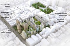 NEW YORK.- This architect's rendering provided by New York University (NYU) on Wednesday, July 11, 2012, outlines proposed plans for new facilities. NYU's plan to build four tall buildings at its Greenwich Village campus is drawing fire from critics who claim the expansion threatens the neighborhood's character. AP Photo/New York University.