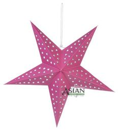 """Solid Fuchsia Star Lantern by Asian Import Store, Inc.. $4.25. This beautiful star lantern is solid Fuchsia with beautiful star cutouts on it.. Dimensions: 24"""". (All star lanterns sold without cord or battery terminal, cord or battery terminal must be purchased separately). These are the unique star lamps which you have seen on MTV's unplugged concert series or have seen decorating concert stages. These are the unique star lamps which you have seen on MTV's unplugged concert se..."""