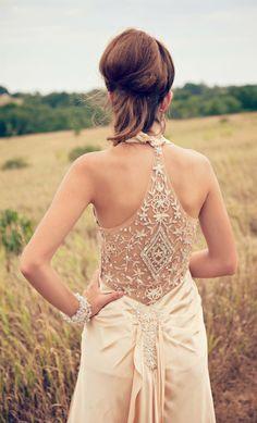 1920s Beaded 1930s Inspired Wedding dress reception dress flapper alternative backless dress