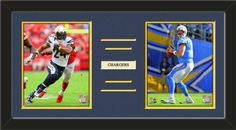 Two framed 8 x 10 inch San Diego Chargers photos of your choice with a customizable nameplate*, double matted in team colors to 24 x 12 inches.  The lines show the bottom mat color.  $79.99 @ ArtandMore.com