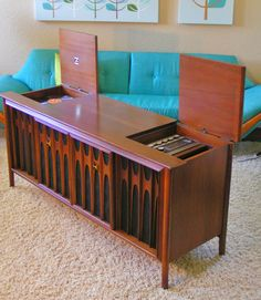 Brasilia by Broyhill - left is turntable for vinyl, right is stereo tuner and color tv behind center doors.ultimate in home entertainment in its day. Mcm Furniture, Vintage Furniture, Furniture Ideas, Vintage Tv, Vintage Decor, Radios, Vintage Stereo Console, Stereo Cabinet, Consoles