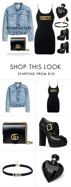 """""""#denimjackets"""" by miee0105 ❤ liked on Polyvore featuring Alexander Wang, Gucci, H&M, Michael Kors, Lipsy and Accessorize"""