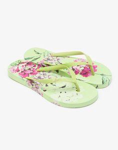 Sandy Lime Floral Flip Flops | Joules UK
