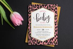 Leopard Print Baby Shower Invitation, Leopard patterned invite, baby girl invite, animal print, printable invitation, printed invitations