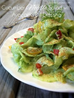 English Cucumber Noodle Salad with Avocado Dill Dressing (raw, vegan, gluten-free, nut-free)