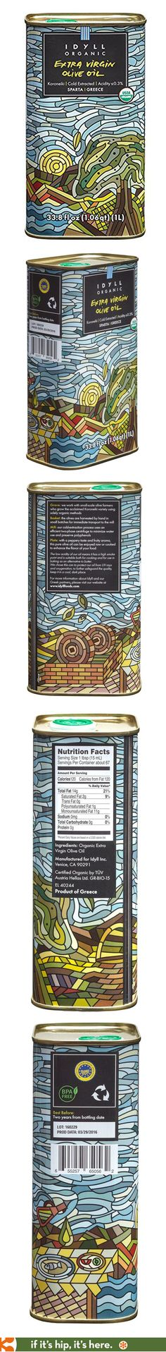 Idyll's Organic Extra Virgin Olive Oil in a pretty mosaic-inspired tin