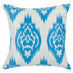 Set of two cotton-linen pillows with ikat motifs.     Product: Set of 2 pillows    Construction Material: 30% Linen, 70% cotton cover and fiber fill    Color: Cornflower blue    Features: Inserts included    Cleaning and Care: Dry clean recommended