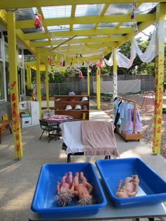 This is an outdoor dramatic play area in a classroom in Australia.  Many other pictures of the fascinating outdoor classroom are included in the blog post.