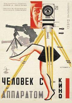 """Poster Avant Garde do filme """"O Homem da câmara de filmar"""", Dziga Vertov. Este filme cruza-se com os principios construtivistas pois recusa a dimensão comtemplativa da arte, é contra os provilegios sociais (comunismo) e defende que a arte devia estar ao serviço de todos e para todos, sendo por isso uma verdade absoluta. É neste contexto que se enquadra, """" O Homem da câmara de filmar"""", não é suposto ser uma história épica para distrair as massas/ controlá-las ."""
