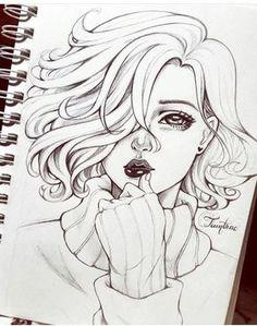New Ideas For Manga Art Sketches Girls Girl Drawing Sketches, Cool Art Drawings, Pencil Art Drawings, Beautiful Drawings, Girl Face Drawing, Girl Sketch, Manga Art, Anime Art, Character Drawing
