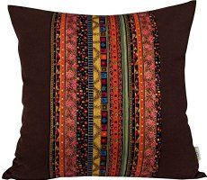 "BLUETTEK Cotton Canvas Square Decorative Bohemian Style Throw Pillow Case Cushion Cover 18 "" X 18 "" (Full Coffee)"