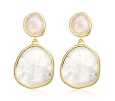 Siren Medium Drop Earrings in 18ct Gold Plated Vermeil on Sterling Silver with Moonstone